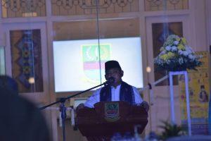Bupati Bekasi Eka Supria Atmaja saat memeberikan sambutan dalam peresmian museum digital Gedung Juang 45. Foto: (Ist)