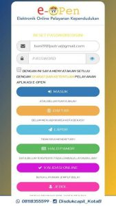 Aplikasi E-Open Disdukcapil Kota Bekasi